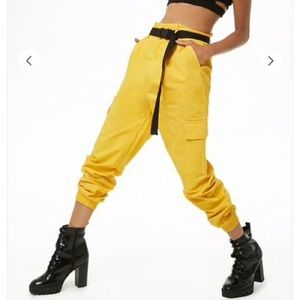 Forever 21 Yellow Belted Cargo Pants